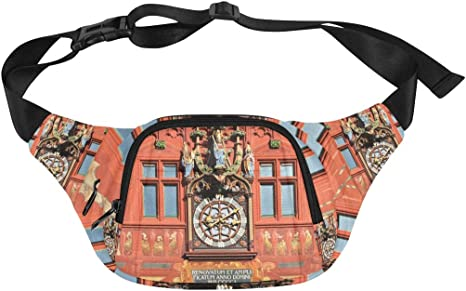 Clock Tower In The Old Town Fenny Packs Waist Bags Adjustable Belt Waterproof Nylon Travel Running Sport Vacation Party For Men Women Boys Girls Kids