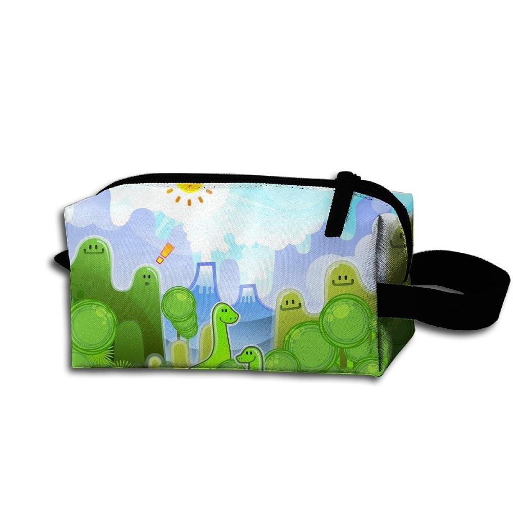 Makeup Cosmetic Bag Cartoon Green Animals Zip Travel Portable Storage Pouch For Men Women