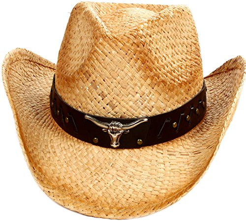 D Diana Dickson Classic Western Structured Curved Brim Straw Cowboy Hat,Beige 2 Western Hat Accessories