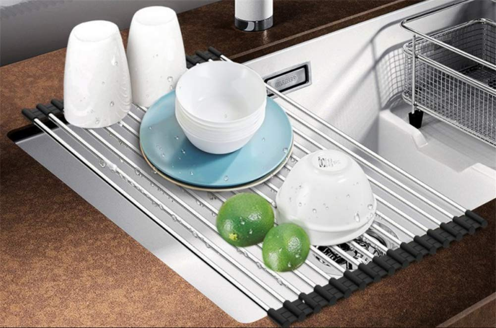 Momugs Roll-up Dish Drying Rack - 17.7''(L) X 10.2''(W) Over the Sink Foldable 304 Stainless Steel Dish Drain Rack Kitchen Multipurpose Non-slip Dish Drainer,Black