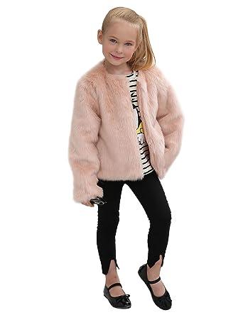 LLQ Abrigo para Niña Invierno Piel Abrigo Color sólido Piel Ropa Niña Engrosamiento Piel Chaqueta Invierno Pelo Kids Fur Coat Chica Piel Abrigo