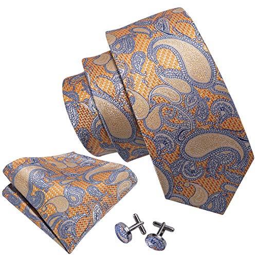 (Paisley Necktie Set Silk Orange Ties for Men Dress Tie Set)