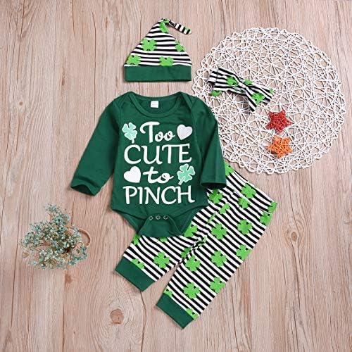 4PCS NEWBORN BABY BOY GIRL ST. PATRICK'S DAY CLOTHES LUCKY CHARM ROMPER SHAMROCKS PANTS HAT HEADBAND OUTFIT SET