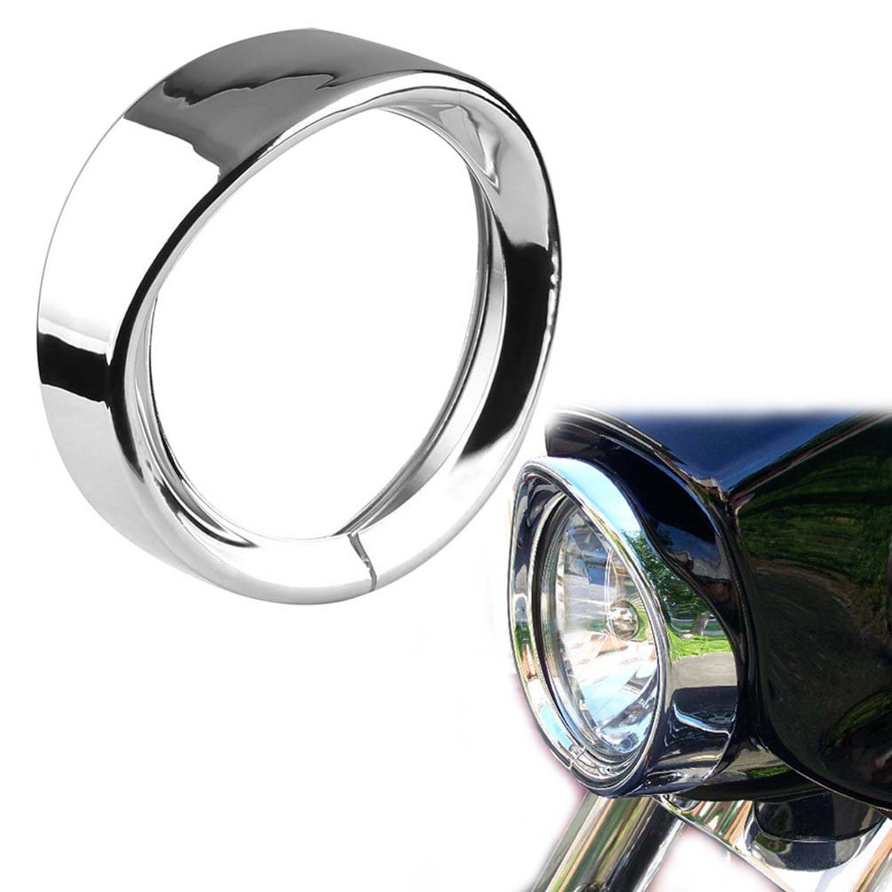 ROCCS 7Inch Harley Headlight Chrome Ring, 7'' Motorcycle Head Lamp Trim Rings Visor Type Decorate Ring Fit Harley Davidson 83-13 Touring Bikes, Road King 94-14 FLHR, 12-14 FLD, 86-14-FLST, 1PC