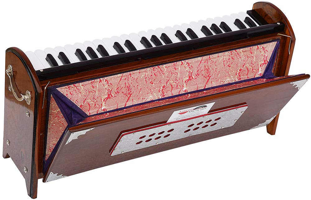 Harmonium Dulcetina Teak Wood By Kaayna Musicals, Compact Size, Easy to Carry, 3½ Octave, Natural Wood Color, Gig Bag, Bass & Male Reed- 440 Hz, Suitable for Yoga, Bhajan, Kirtan, Shruti, Mantra by Kaayna Musicals