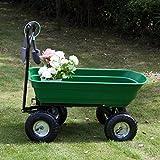 600LB Garden Tools Dump Cart Dumper Wagon Carrier Wheel Barrow Air Tires Heavy Duty, Green