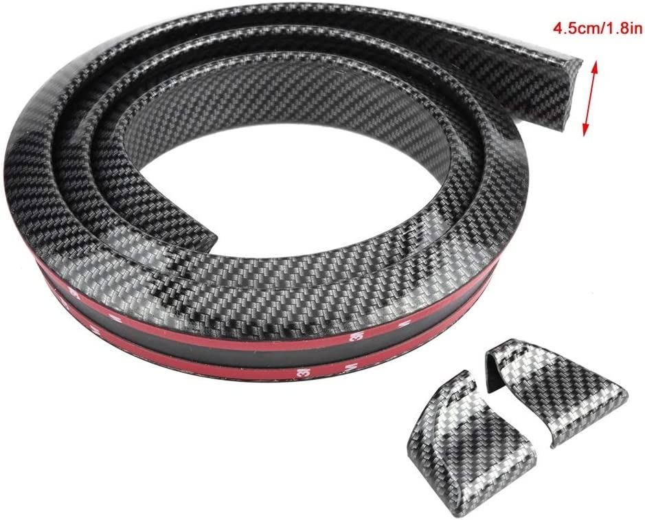 Broco 1.6m//5.2ft Carbon Fiber Soft Rubber Car Rear Roof Trunk Spoiler Wing Lip Sticker Guard 4.5cm