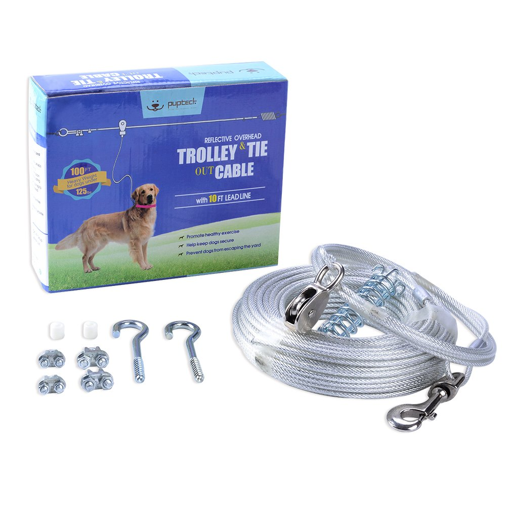 PUPTECK Reflective Dog Run Cable - 100 ft Heavy Weight Tie Out Cable with 10 Feet Runner for Dog up to 125lbs