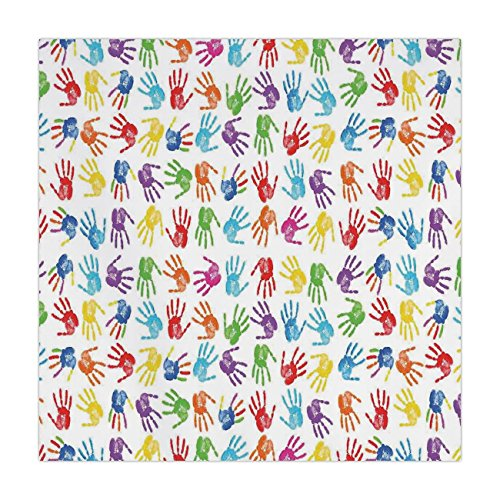 Satin Square Tablecloth,Colorful Decor,Human Handprint Kids Watercolor Paint
