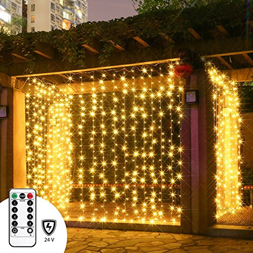 LED Curtain Lights with Remote, Twinkle Star 300 Leds Window Curtain for Indoor and Outdoor, Full Waterproof Multiple String Strands Connectable, RF Controller Safe Low Voltage UL588 Listed Warm White Art Deco Outdoor Lighting