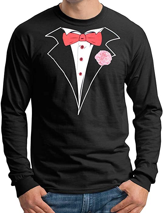 dbab39409 Amazon.com: Mens Tuxedo Long Sleeve T-Shirt with Red Tie- Small ...