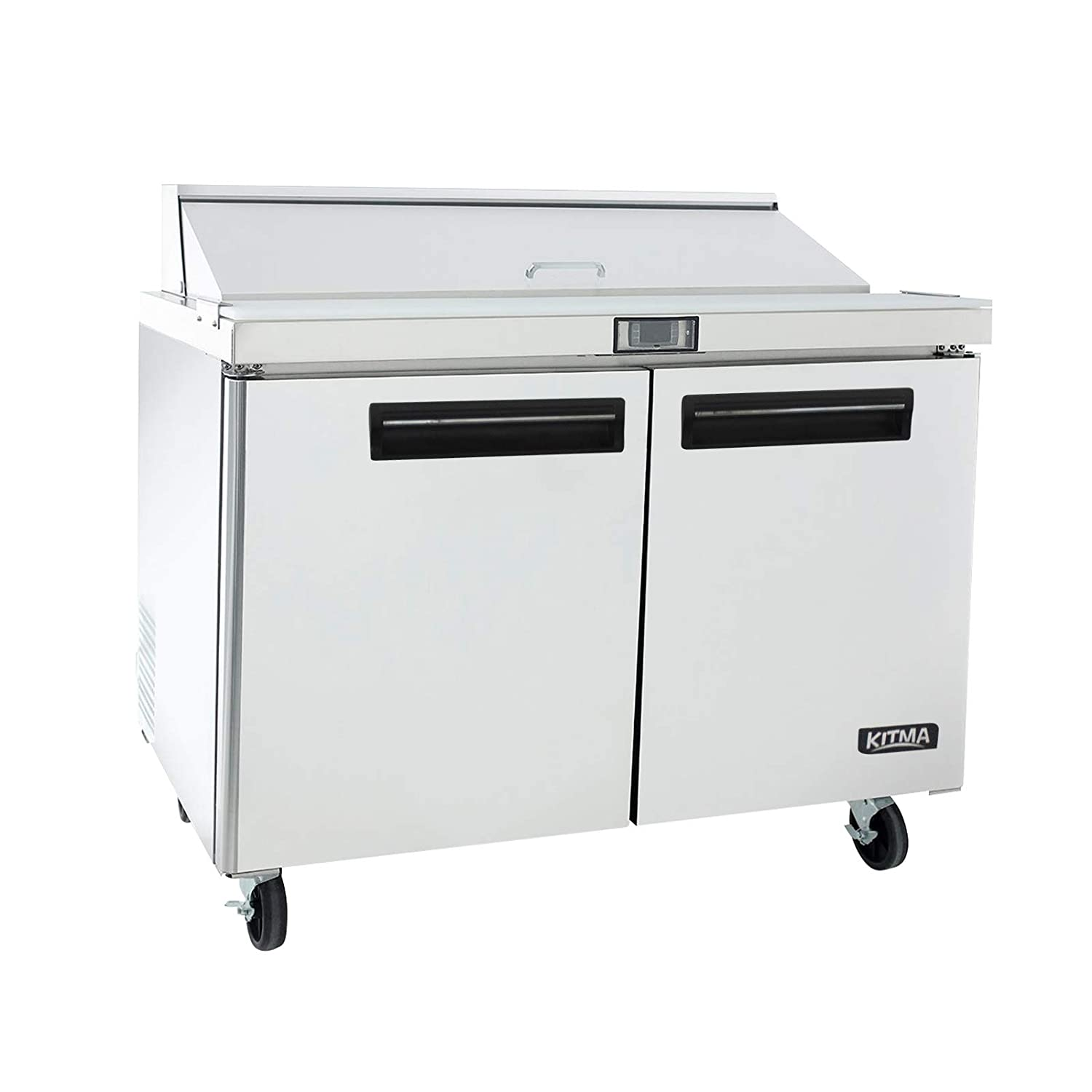 48 Inches Sandwich Salad Prep Table Refrigerator - KITMA 12 Cu. Ft 2 Door Food Prep Station Table with Cutting Board and 12 Pans, 33 °F - 38°F