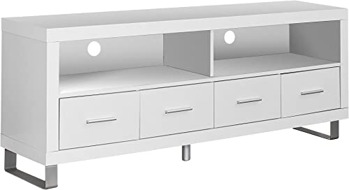 Monarch Specialties , TV Console with 4 Drawers, White, 60 L