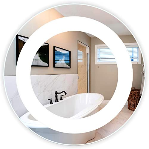 LED Front-Lighted Bathroom Vanity Mirror 24 Wide x 24 Tall – Commercial Grade – Round – Wall-Mounted