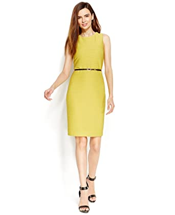 fc7b4a37ae6 Calvin Klein Women s Yellow Textured-Knit Belted Sheath Dress Size 10P at  Amazon Women s Clothing store