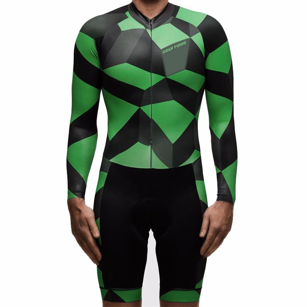 Uglyfrog #07 Designs Mens Long Slevve Jersey + Short Lges Triathlon Suit/Trisuit Cycling Skinsuits Speedsuit Compressible Breathable & Quick Drying for Biking wear by Uglyfrog