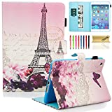 Dteck iPad Mini 1/2/3 Case - Slim Fit [Stylus Slot] Folio Stand PU Leather Smart Wallet Case with Auto Wake/Sleep Magnetic Cover for Apple iPad Mini 3 / iPad Mini 2 / iPad Mini 1, Romantic Paris