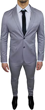 Vestiti Eleganti Uomo Grigio.Abito Uomo Sartoriale Grigio Chiaro Completo Vestito Slim Fit Made