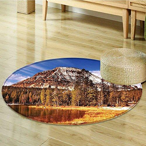 (Non Slip Round Rugs in Fall Rocky Cliffs by Creek Pine Grassland Park Oriental Floor and Carpets-Round 63