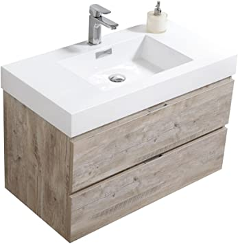 Bliss 36 Nature Wood Wall Mount Modern Bathroom Vanity Amazon Com