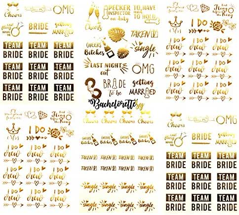 Premium Bachelorette & Team Bride Temporary Tattoos – 100+ Metallic Tattoos (6 Sheets) Bride Tribe, Bachelorette Party Favors, Supplies, Gifts, Accessories in Gold, Silver (Joy Collection)