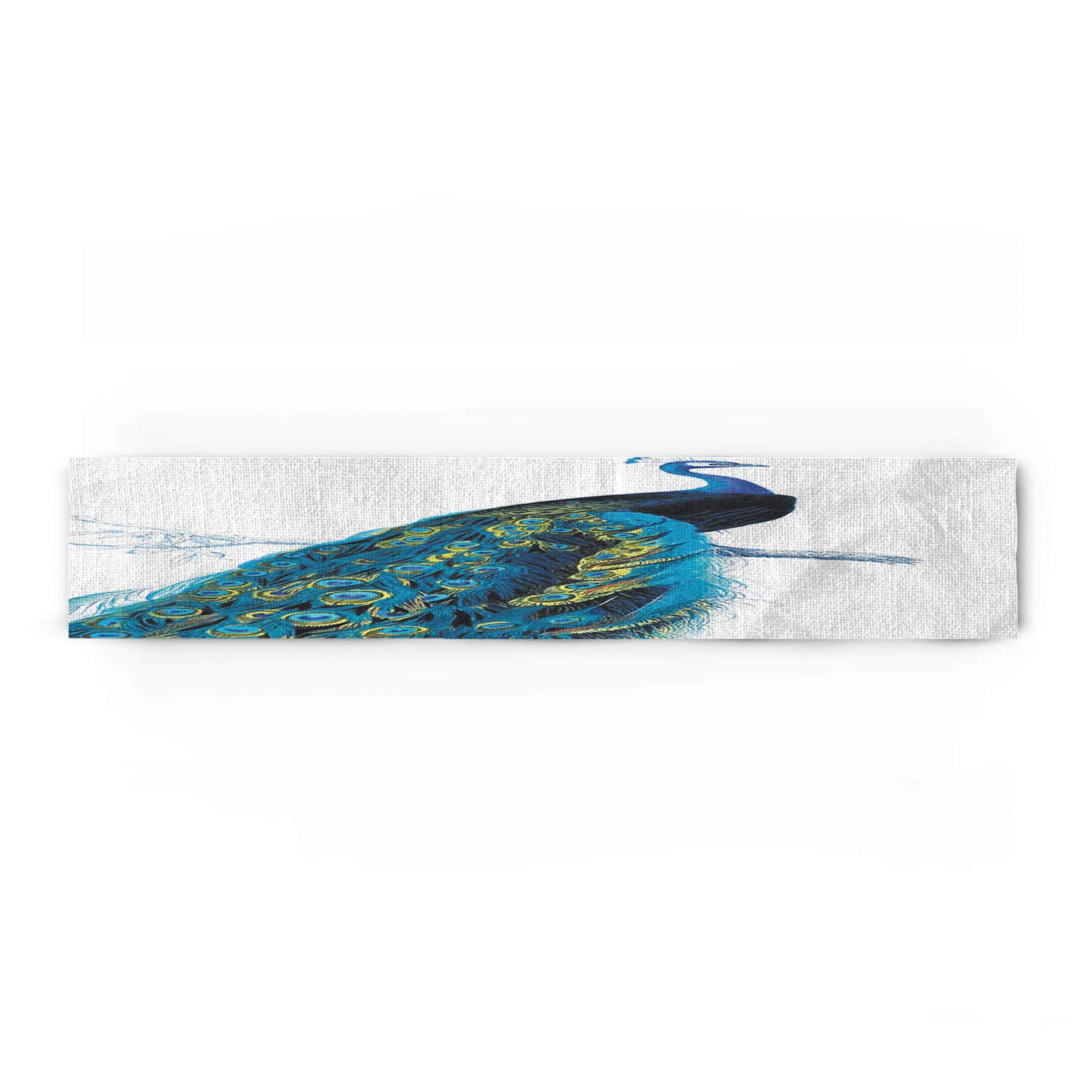 WAZZIT Peacock Cotton Table Runner - Perfect for Summer Holiday Parties and Everyday Use 16x72inch, Peacock Stand on Branch Wildlife Animals