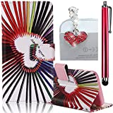 Bonice ASUS Zenfone 2 Laser 5.0 Case, Premium Leather Wallet Case + Diamond Antidust Plug + Stylus Pen Ultra Slim Book Style Cover with Card Slots Flip Stand Function Soft TPU Back Bumper Anti-scratch Shockproof Skin Protection, Colorful Pen Heart