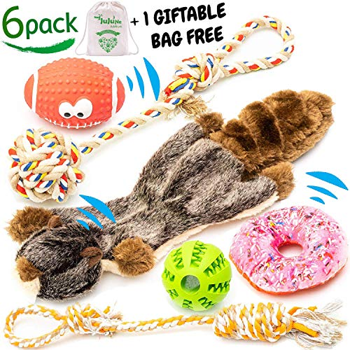 JuJuNe pets, Small and Medium Dog Toys Set 6 Pack, Rubber Ball, Nontoxic Latex Rugby Dog Toy, Durable & Natural Cotton Tug Ropes, Plush Squeaky Donut, Plush Marmot Squeak Chew Toy, Dogs Toys