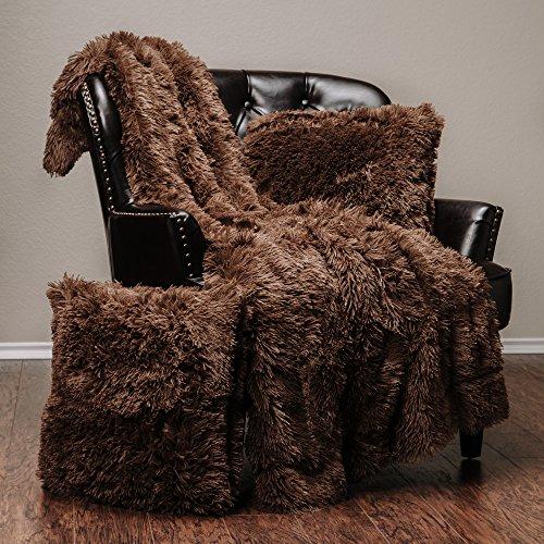 Chanasya 3-Piece Super Soft Shaggy Throw Blanket Pillow Cover Set - Chic Fuzzy Faux Fur Elegant Fleece Sherpa Throw (50
