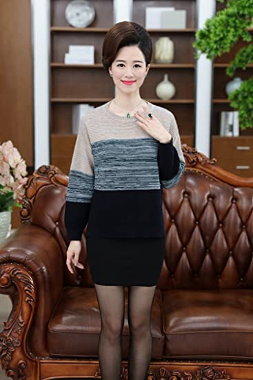 Autumn Middle Aged Mother Dress Wool Clothes Womens 40 Year Old