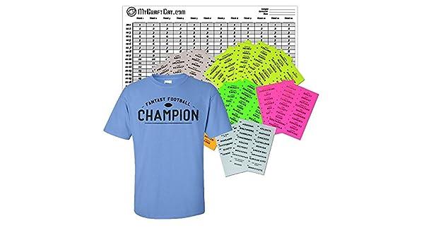 8f08fbdf Amazon.com: 2018-19 Fantasy Football 12 Team Draft Kit and Championship T- Shirt: Sports & Outdoors