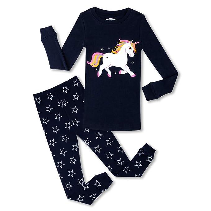 Amazon.com: Pijama de unicornio para niñas, 100% algodón ...