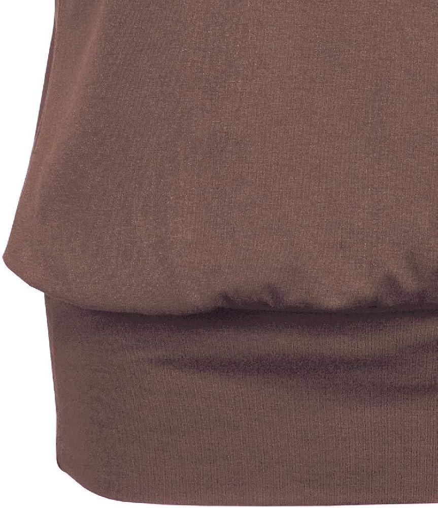 Fleasee Damen T-Shirt Kurz /Ärmel Bluse Stretch L/ässig Tunika Allover Druck Oberteile Top