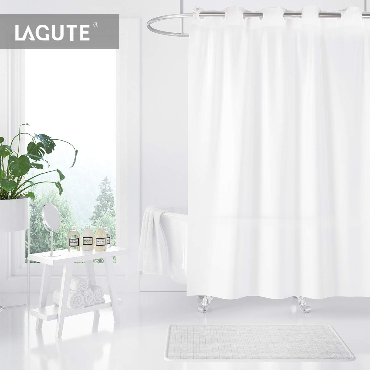 Lagute SnapHook Shower Curtain, 71 x 74 inch Translucent Lightweight PEVA Bathroom Curtain with Waterproof Anti-moldy Function Single Layer (Replacement Liner Not Applicable), Frosted White Color