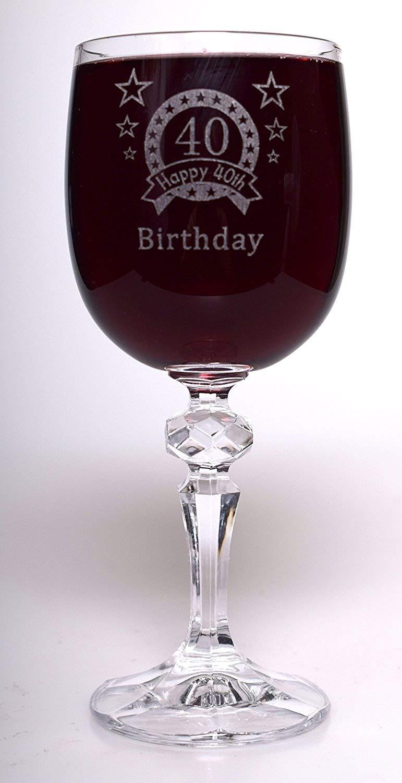 (FBA) grabado 40th cumpleaños estrellas Copa de vino regalo