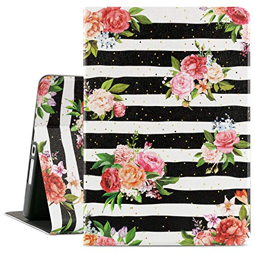 Lalumix 8Th Generation Ipad Case,Ipad Cover 7Th Generation 10.2,Ipad Case 7Th Generation,Ipad 10.2 2019 Case Smart Shell Stand Cover Soft TPU Hard Back with Auto Wake/Sleep (Black Striped Flower)