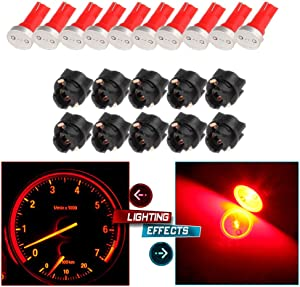 cciyu 10x High Power T5 73 74 Wedge Instrument Cluster Speedometer LED Light Bulbs Red + 10x Twist Sockets 17 37 70 Instrument Panel Cluster Plug Lamp Dash Light Bulb T5