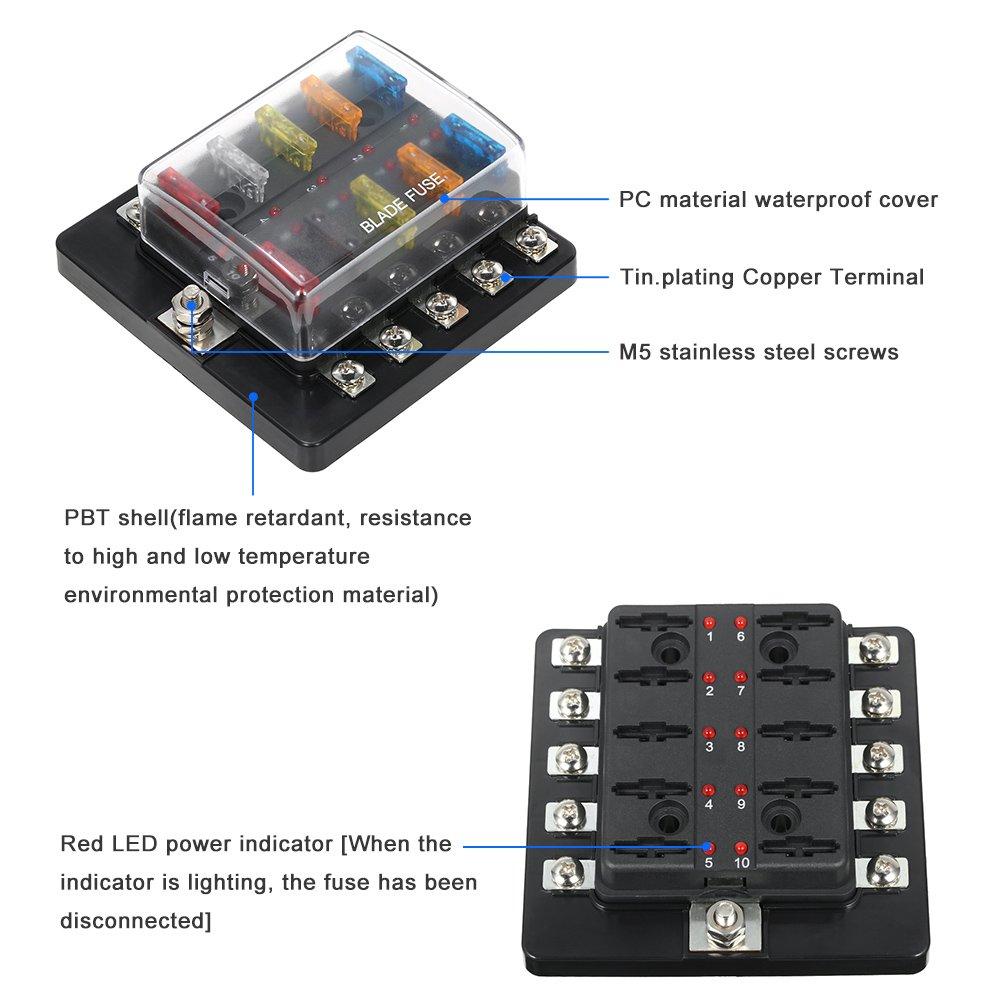 KKmoon 10 Way Blade Fuse Box with LED Indicator Fuse Block for Car Boat Marine Caravan 12V 24V