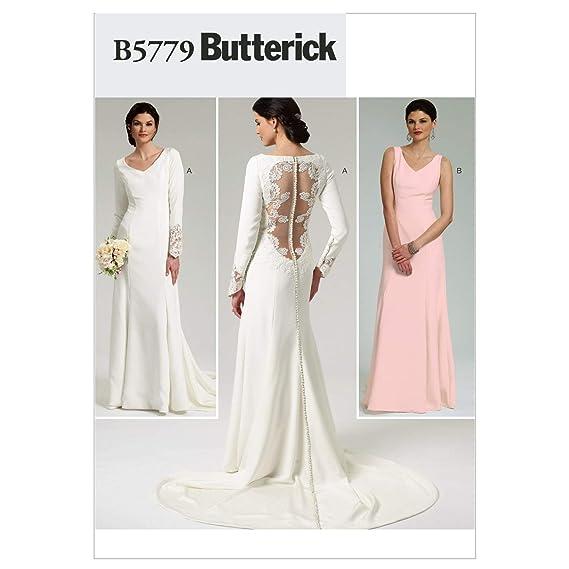 d139bd363 Butterick B5779 - Patrón de costura para confeccionar vestido de novia y de  dama de honor  Amazon.es