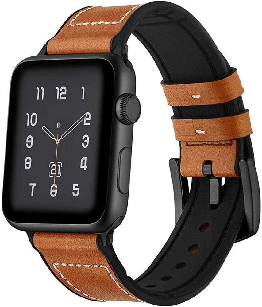 Kartice Compatible with Apple Watch Band Series 6 And Apple Watch SE Bands Hybrid Rubber Leather Band for iWatch Series 5 4 3 2 1 Bands (Brown 44mm/42mm)