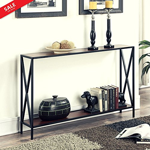 Hallway Console Table Narrow Metal Frame Entryway Foyer Accent Entry Console Home Sleek Furniture Transitional Style Unique Contemporary Design 2 Storage Shelves & eBook by BADA shop
