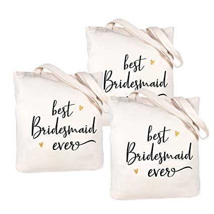 Caraknots Bridesmaid Gifts Set Of 3 Canvas Bridesmaid Bags Wedding Bridal Shower Gifts Bridesmaid Tote Bag With Pocket 100 Cotton Amazon In Home Kitchen