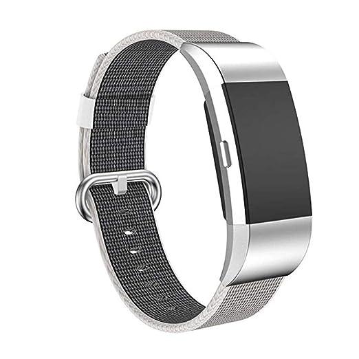SUNEVEN - Correa de repuesto para Fitbit Charge 2 (nailon trenzado, correa para reloj