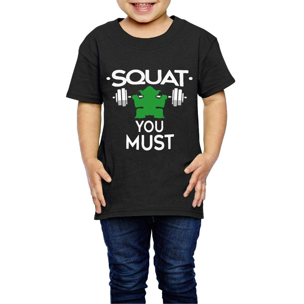 XYMYFC-E Squat You Must 2-6 Years Old Kids Short Sleeve Tee Shirt