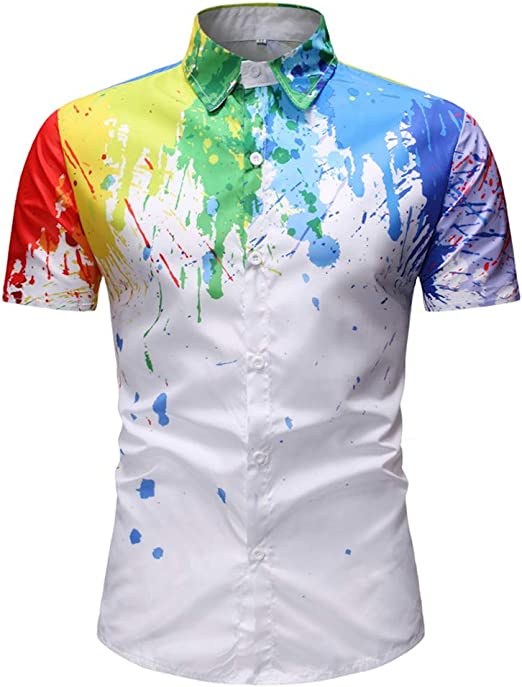 Men Shirt Long Sleeve 3D Splash Ink Print Shirts Casual Blouse Plus Size