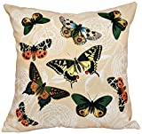 E by design 20 x 20-inch, Antique Butterflies and Flowers, Animal Print Pillow, Gold