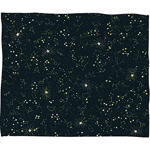 Deny Designs Joy Laforme Constellations In Midnight Blue Fleece Throw Blanket, 30 x - Painting Constellation
