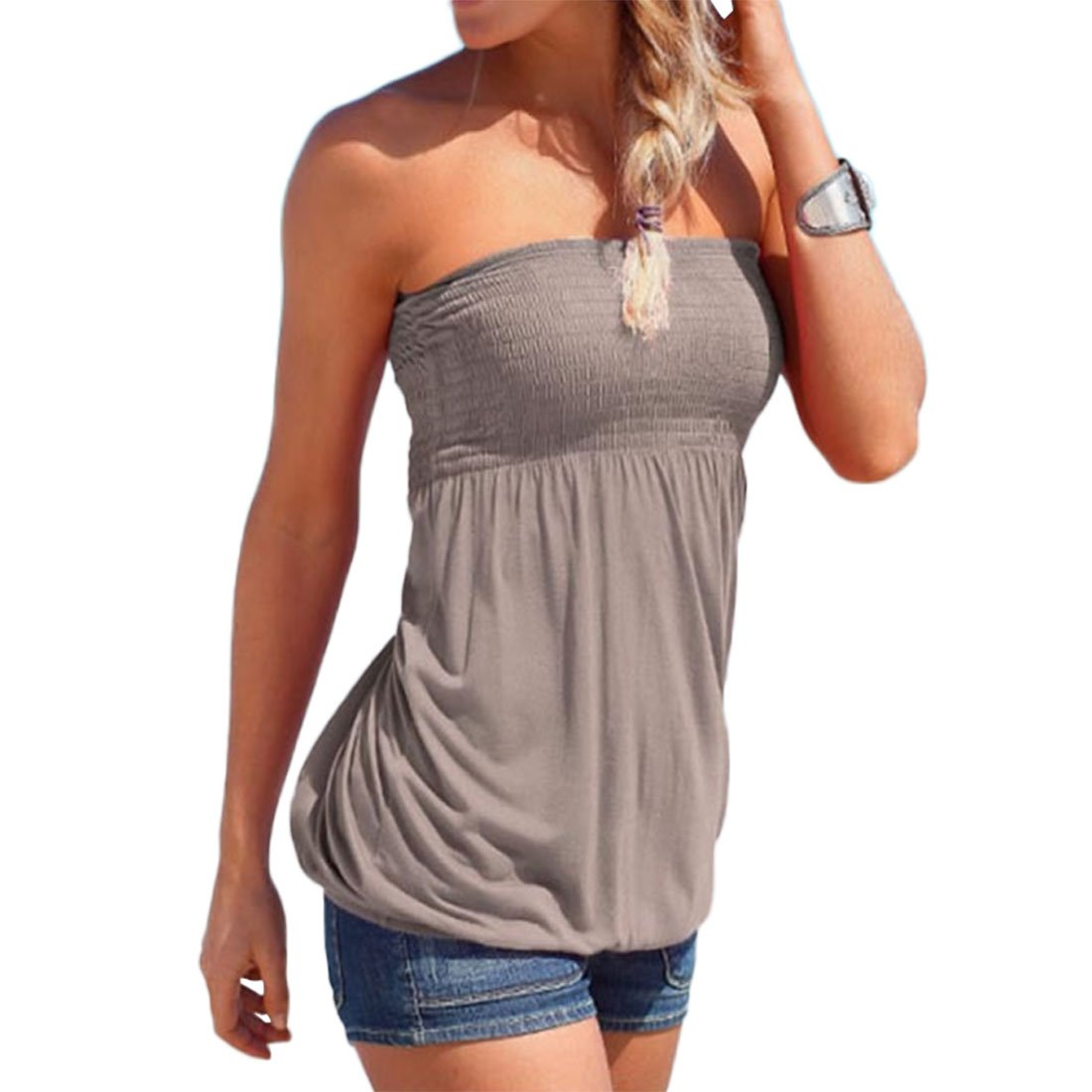 Shilanmei Women Sleeveless Tube Top Strapless Blouse Pleated Tunic Tanks Tops (Gray,M)