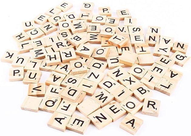 Binxory Scrabble Azulejos Letras Alfabeto Piezas de Madera Números Colgantes Ortografía 100 Piezas: Amazon.es: Hogar