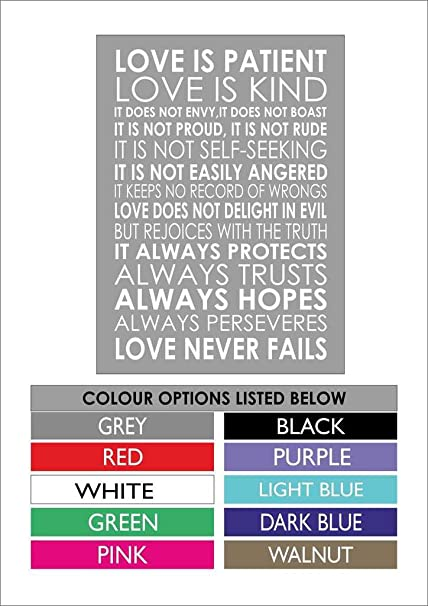 1 Corinthians 13 Wedding Reading.Love Is Patient Love Is Kind 1 Corinthians 13 4 Popular Wedding Reading A4 29cm X 21cm Canvas Grey Background White Text The Canvas Comes Ready